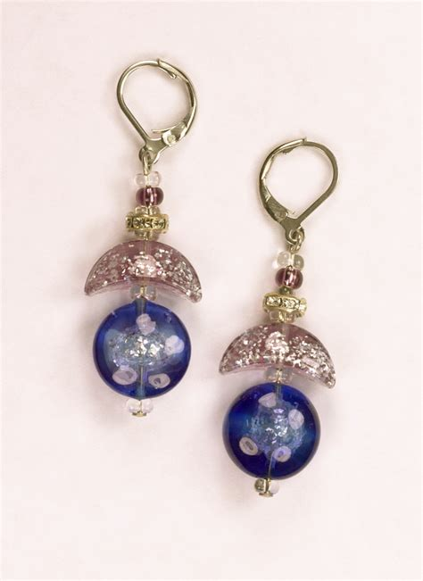 glass jewelry italian glass earrings in violet and ambers italian