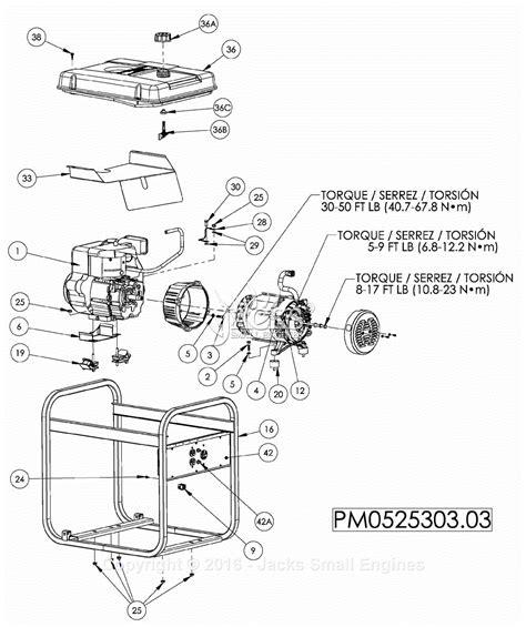 coleman generator wiring diagram powermate formerly coleman pm0525303 03 parts diagram for generator parts