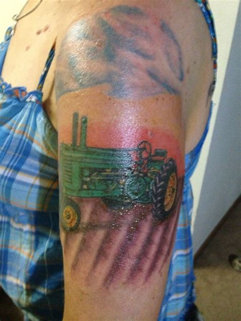 tractor tattoos green tractor on arm tattoomagz