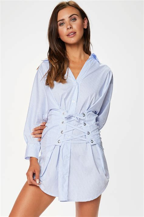Sofie Blue by Blue Striped Corset Shirt Dress