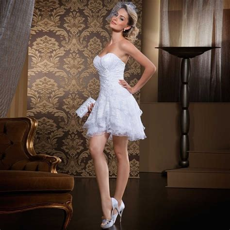 sexy strapless lace short wedding dress 2016 custom made