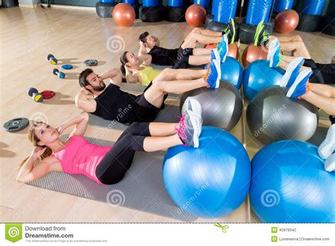 fitball crunch fitness at stock photo image 40979342