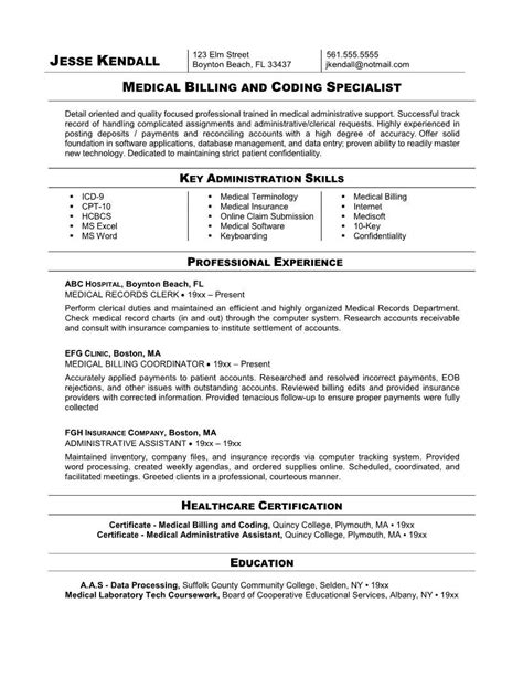 Medical Professional Resume Template 2 coder free resume sles coding