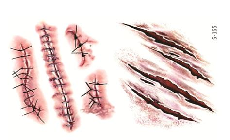 5pcs zombie scars tattoos fake scab blood special costume