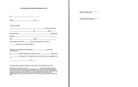 installment promissory note template free installment note