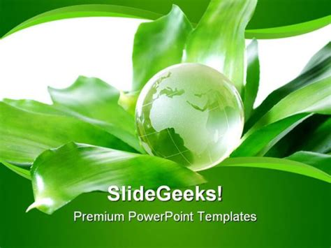 ppt themes on environment green globe environment powerpoint template 0810
