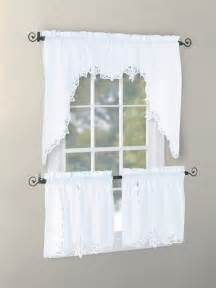 Kitchen Curtains Swags Vintage Battenburg Kitchen Curtain Valance Swag Tier White Ecru Color Handcraft Ebay