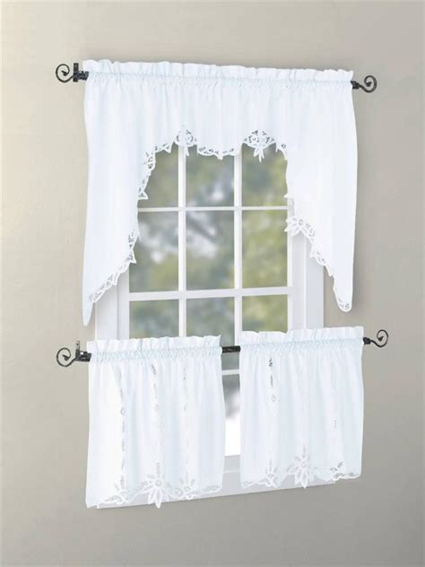 vintage battenburg kitchen curtain valance swag tier white
