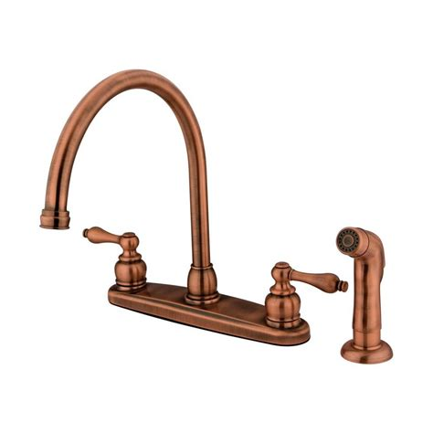 antique copper kitchen faucets shop elements of design antique copper 2 handle high arc kitchen faucet at lowes