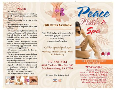 infinity nails and spa peace nails spa brochure 1 from peace nail in