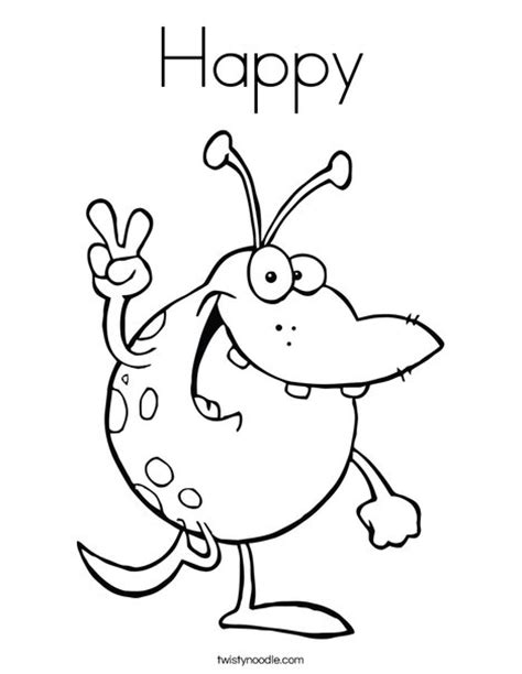 what color is happy happy coloring page twisty noodle