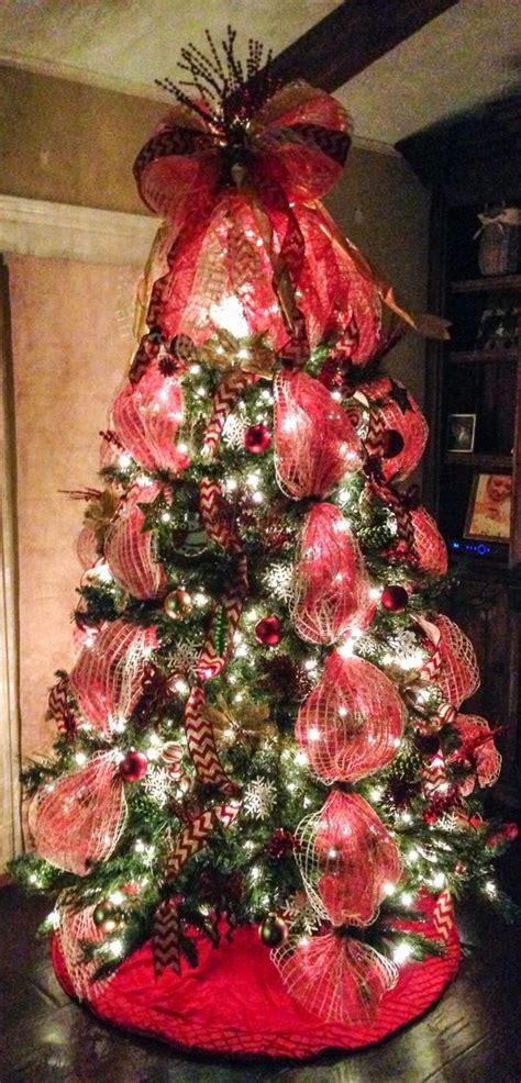 wide mesh ribbon for christmas tree deco mesh tree with chevron burlap ribbon and mesh bow tree topper deco mesh