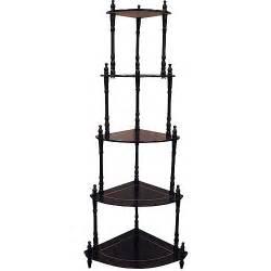 traditional decorative 5 tier corner shelf cherry