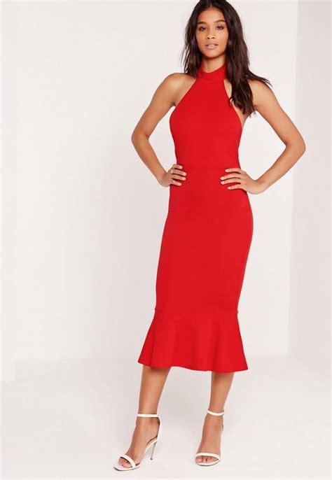 Promo Dress Khloe Halter Midi Dress Navy halter neck fishtail midi dress missguided