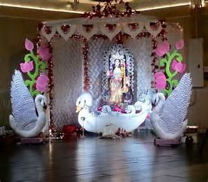 saraswati puja decoration pooja room and rangoli designs
