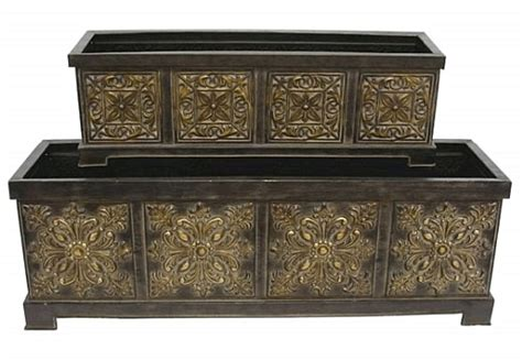 Tin Planter Box by Large Decorative Window Box Planters Set Of 2 Tin