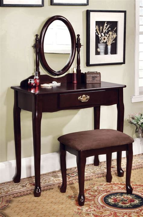 Espresso Vanity Table Vanity Table In Espresso Finish Cm Dk6051ex Oval Mirror And Products