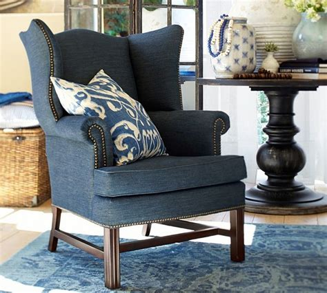 Blue Wing Chair Design Ideas Thatcher Upholstered Wingback Chair Recycled Cotton Denim Blue Transitional Armchairs And