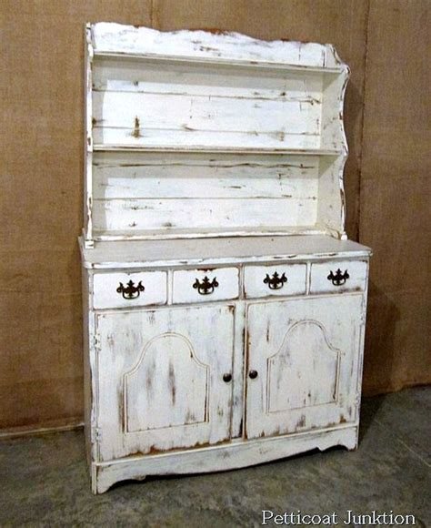 How To Paint White Distressed Furniture by White Hutch With Distressed Paint