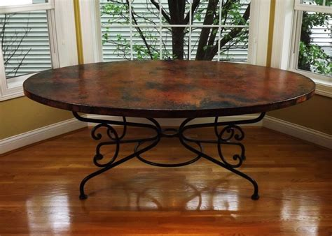 Arhaus Copper Dining Table Arhaus Quot Arabesque Quot Hammered Copper And Iron Dining Table Ebth