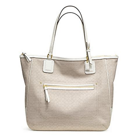 Handbag Of The Week Signature Oxford Tote by Poppy Signature C Mini Oxford Tote F25078 Brass Ivory