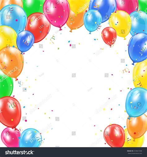 Happy birthday background frame flying colorful stock vector 418561948 shutterstock