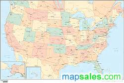 united states political wall map w highways and oceans by