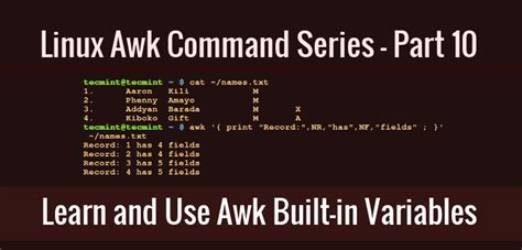 awk command in unix and linux with exles techsakh learn how to use awk built in variables part 10