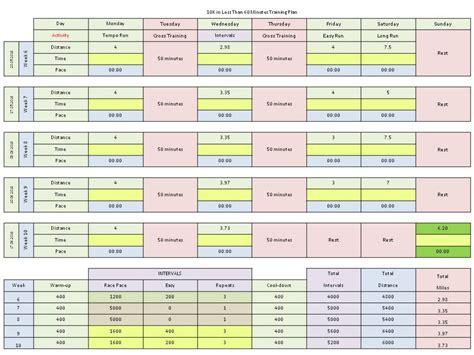 running schedule excel calendar template 2016