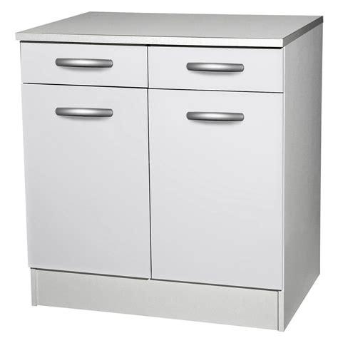 meuble de cuisine bas 2 portes 2 tiroirs blanc h86x