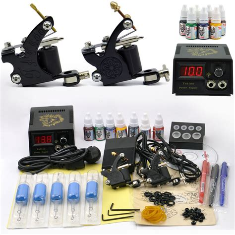 professional tattoo set 2 2 tatoo guns 7 color inks