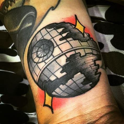 death star tattoo by creepinktattoo deathstar starwarstattoo