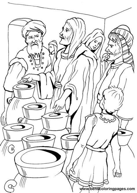 coloring pages jesus first miracle cana marriage miracle coloring page