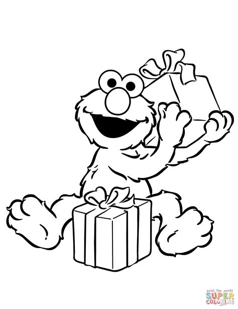 happy birthday elmo coloring page elmo opening birthday presents coloring page free