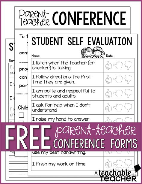 student self evaluation templates parent conference tips and freebies linky
