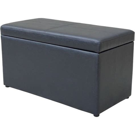ottoman leather hinged storage container coffee table foot