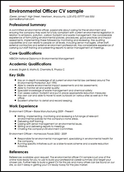 specimen cv format environmental officer cv sle myperfectcv