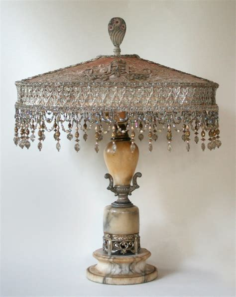 oval antique lampshade on shabby chic base nightshades