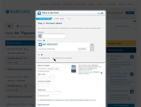 make a bank account barclays add new payees and make payments barclays