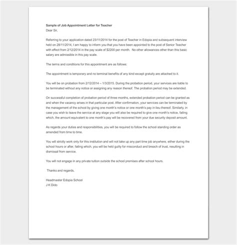 appointment letter format for temporary employee temporary appointment letter 11 for word and pdf format