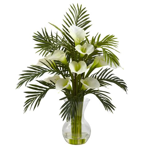 Ming Vase Designs 27 Inch Artificial Calla Lily Amp Palm Combo In Vase
