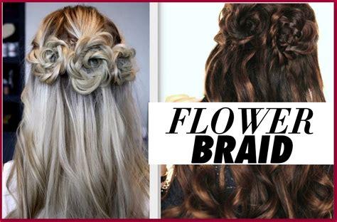 flower braid hair tutorial half up prom hairstyles
