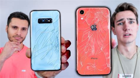 samsung galaxy s10e vs iphone xr drop test mobile arena