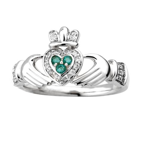14k white gold emerald claddagh ring fallers