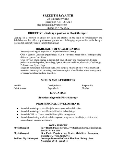 Physiotherapist Resume Sle physiotherapist resume sle assistant physiotherapist