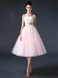 Pink Strapless Retro 50s 60s Tea Length Prom Dress Short