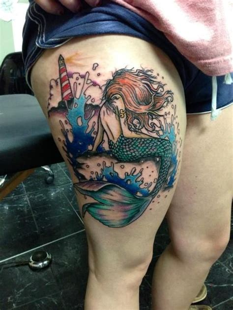 mermaid thigh tattoo 41 best images about mermaid tattoos on