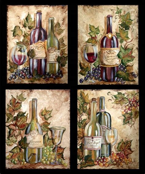 wine themed home decor wine bottle grapes on wine bottles tre sorelle art for