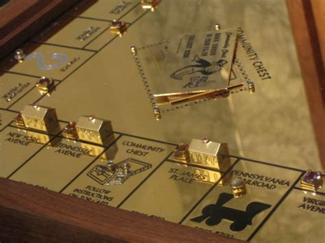Setting Board Gold gold monopoly on display in new york
