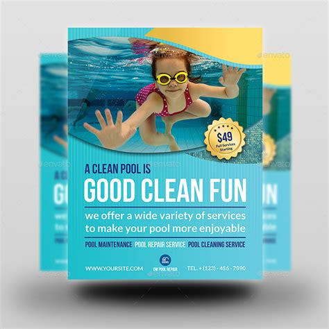 Swimming Pool Cleaning Service Flyer Template By Owpictures Graphicriver Swimming Flyer Templates Free